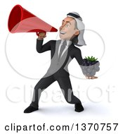 Clipart Of A 3d Arabian Business Man Holding A Blackberry And Using A Megaphone On A White Background Royalty Free Illustration