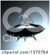 Clipart Of A 3d Alien Flying A Ufo Over Gradient Royalty Free Illustration