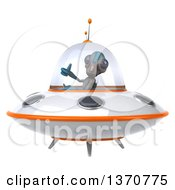 Clipart Of A 3d Alien Giving A Thumb Up And Flying A Ufo On A White Background Royalty Free Illustration