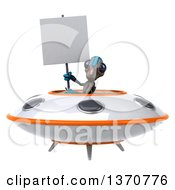 Clipart Of A 3d Alien Holding A Blank Sign And Flying A Ufo On A White Background Royalty Free Illustration