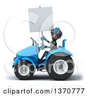 Poster, Art Print Of 3d Alien Holding A Blank Sign And Operating A Blue Tractor On A White Background