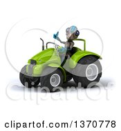 Poster, Art Print Of 3d Alien Giving A Thumb Up And Operating A Green Tractor On A White Background