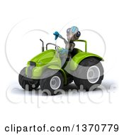 Poster, Art Print Of 3d Alien Giving A Thumb Down And Operating A Green Tractor On A White Background