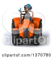 Poster, Art Print Of 3d Alien Giving A Thumb Up And Operating An Orange Tractor On A White Background