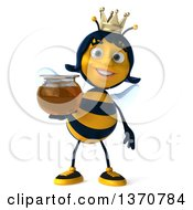 Clipart Of A 3d Queen Bee Holding A Honey Jar On A White Background Royalty Free Illustration