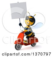 3d Male Bee Wearing Sunglasses Holding A Blank Sign And Driving A Red Scooter On A White Background