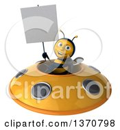 Clipart Of A 3d Male Bee Holding A Blank Sign And Flying A Yellow Ufo On A White Background Royalty Free Illustration
