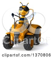 Clipart Of A 3d Male Bee Operating A Tractor On A White Background Royalty Free Illustration