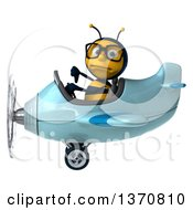 Clipart Of A 3d Bespectacled Male Bee Aviator Pilot Giving A Thumb Down And Flying A Blue Airplane On A White Background Royalty Free Illustration