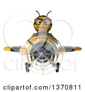 Clipart Of A 3d Bespectacled Male Bee Aviator Pilot Flying A Black And Yellow Airplane On A White Background Royalty Free Illustration