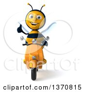 3d Male Bee Giving A Thumb Up And Driving A Yellow Scooter On A White Background