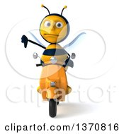 3d Male Bee Giving A Thumb Down And Driving A Yellow Scooter On A White Background