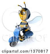 3d Bespectacled Male Bee Driving A Blue Scooter On A White Background