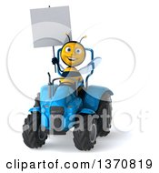 Clipart Of A 3d Male Bee Holding A Blank Sign And Operating A Blue Tractor On A White Background Royalty Free Illustration