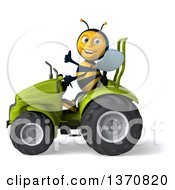 Poster, Art Print Of 3d Male Bee Giving A Thumb Up And Operating A Green Tractor On A White Background