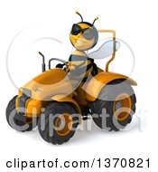 Poster, Art Print Of 3d Male Bee Wearing Sunglasses And Operating A Tractor On A White Background