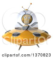 Clipart Of A 3d Male Bee Flying A Yellow Ufo On A White Background Royalty Free Illustration