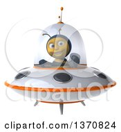 Clipart Of A 3d Male Bee Flying A White And Orange Ufo On A White Background Royalty Free Illustration