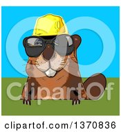 Clipart Of A Cartoon Happy Construction Beaver Wearing Sunglasses On A Blue And Green Background Royalty Free Illustration