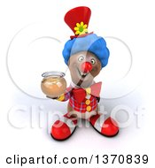 Clipart Of A 3d Brown Bear Clown Holding A Honey Jar On A White Background Royalty Free Illustration by Julos
