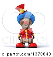 Clipart Of A 3d Brown Bear Clown On A White Background Royalty Free Illustration
