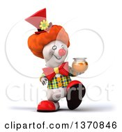 Clipart Of A 3d Polar Bear Bear Clown Holding A Honey Jar On A White Background Royalty Free Illustration by Julos