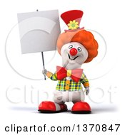 Clipart Of A 3d Polar Bear Bear Clown Holding A Blank Sign On A White Background Royalty Free Illustration by Julos