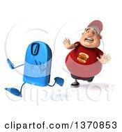 Clipart Of A 3d Chubby White Guy In A Red Burger Shirt Chasing A Scale On A White Background Royalty Free Illustration