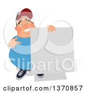 Clipart Of A Cartoon Fat White Man Holding A Blank Sign On A White Background Royalty Free Illustration