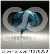 Clipart Of A 3d Blue Geometric Human Brain On A Gray Background Royalty Free Illustration