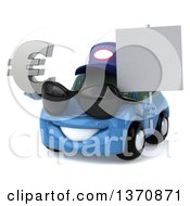Clipart Of A 3d Blue Porsche Car Mechanic Wearing Sunglasses Holding A Blank Sign And Euro Symbol On A White Background Royalty Free Illustration