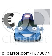 Clipart Of A 3d Blue Porsche Car Mechanic Holding A Blank Sign And Euro Symbol On A White Background Royalty Free Illustration