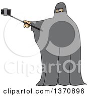 Clipart Of A Cartoon Muslim Woman Wearing A Burka And Taking A Selfie Royalty Free Vector Illustration
