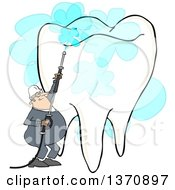 Cartoon White Worker Man Pressure Washing A Tooth On A White Background