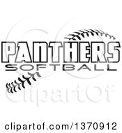Clipart Of Black And White Panthers Softball Text Over Stitches Royalty Free Vector Illustration by Johnny Sajem