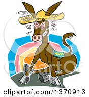 Clipart Of A Drunk Donkey Wearing A Sombrero Against A Sunset Royalty Free Vector Illustration