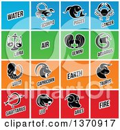 Clipart Of Black And White Horoscope Zodiac Astrology Icons On Colorful Tiles Royalty Free Vector Illustration by cidepix