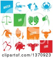 Clipart Of Elements And Horoscope Zodiac Astrology Icons Royalty Free Vector Illustration by cidepix
