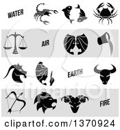 Clipart Of Black And White Horoscope Zodiac Astrology Icons On White And Gray Panels Royalty Free Vector Illustration by cidepix