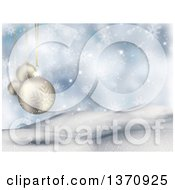Clipart Of A Christmas Background Of 3d White Snowflake Bauble Ornaments Over Hills And Snowflakes On Blue Royalty Free Illustration
