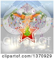 Christmas Tree In A Star Frame With A Bow Branches And Lights Over Gray