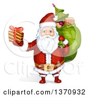Clipart Of A Christmas Santa Claus Carrying A Sack And Holding Up A Gift Royalty Free Vector Illustration