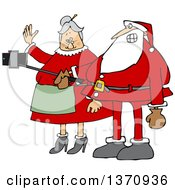 Clipart Of A Cartoon Santa And Mrs Claus Taking A Selfie With A Stick And Smart Phone Royalty Free Vector Illustration