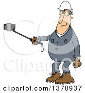Cartoon White Male Worker In Coveralls Taking A Selfie With A Phone On A Stick