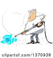 Cartoon Chubby White Man Pressure Washing