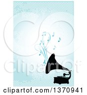Clipart Of A Black Silhouetted Gramophone Playing Music Over A Blue Background With Dots Royalty Free Vector Illustration by Pushkin