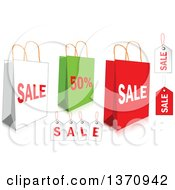 Clipart Of White Green And Red Retail Shopping Bags And Tags Royalty Free Vector Illustration by Pushkin