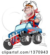 Clipart Of A Cartoon Caucasian Male Cowboy Ridig On A Monster Truck His Eyeballs Bugging Out Royalty Free Vector Illustration by LaffToon