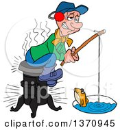 Clipart Of A Cartoon Caucasian Man Sitting On A Wood Stove And Ice Fishing Royalty Free Vector Illustration