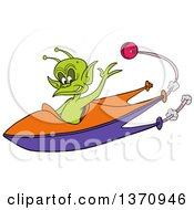 Cartoon Friendly Alien Waving And Flying A Space Ship A Planet In The Background